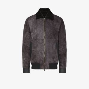 Ajmone Mens Grey Lacon Suede And Shearling Bomber Jacket