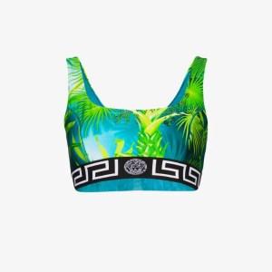 Versace Womens Green Jungle Print Sports Bra