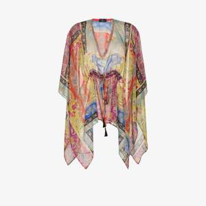 Etro Womens Purple Paisley-print Poncho Top