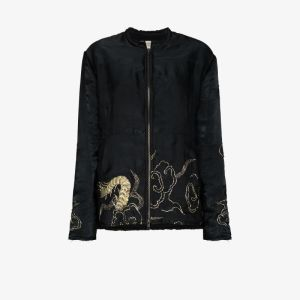 By Walid Womens Black Embroidered Bomber Jacket