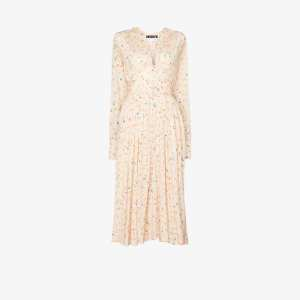 Rotate Womens Neutrals Tracy Micro Floral Print Midi Dress