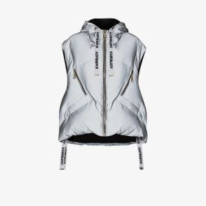 Khrisjoy Womens Grey Kh Sleeveless Puffer Jacket