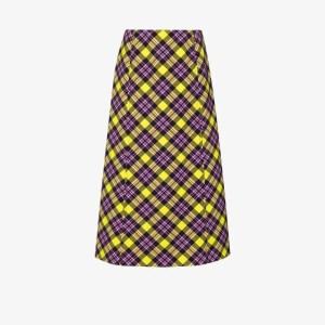 Prada Womens Yellow Anne Checked Pencil Skirt