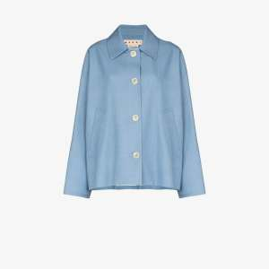 Marni Womens Blue Ruffle Back Button-down Jacket