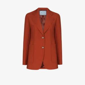 Prada Womens Orange Natte Single-breasted Wool Blazer