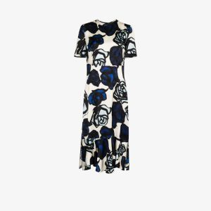 Marni Womens Blue Floral Ruffle Hem Midi Dress