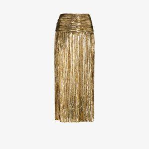 Saint Laurent Womens Gold Metallic-effect Pleated Skirt
