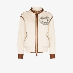 Burberry Womens Neutrals Logo Graphic Bomber Jacket