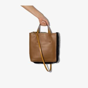 Marni Womens Brown Museo Panelled Tote Bag