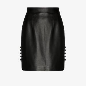 Matériel Womens Black High-waisted Faux Leather Mini Skirt
