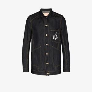 Sulvam Mens Blue Denim Logo Jacket