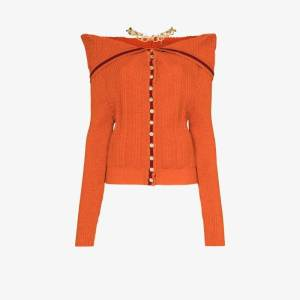 Y/project Womens Orange Necklace Detail Ribbed Wool Cardigan