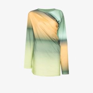 Y/project Womens Green Twisted Ombré Cotton Sweatshirt