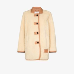 Chloé Womens Neutrals Shearling Coat