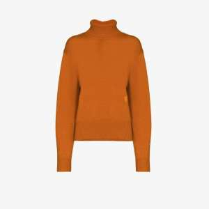 Chloé Womens Orange Turtleneck Cashmere Sweater