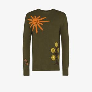 The Elder Statesman Mens Green Butterfly Universe Cashmere Sweater