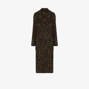 Dolce & Gabbana Womens Brown Oversized Brushed Coat