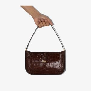 By Far Womens Brown Miranda Mock Croc Leather Shoulder Bag