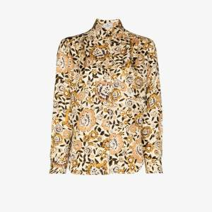 Etro Womens Yellow Floral Print Silk Shirt