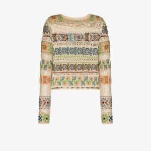 Etro Womens Neutrals Crochet Knit Patterned Top