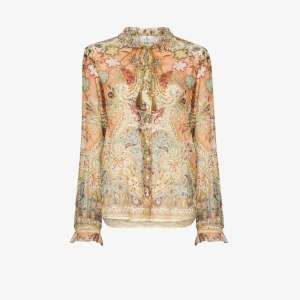 Etro Womens Multicolour Paisley Print Tie Neck Shirt