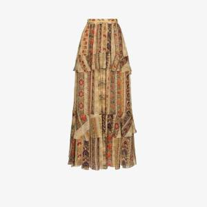 Etro Womens Brown Tapestry Print Silk Maxi Skirt