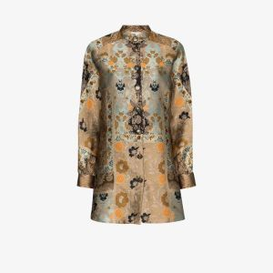Etro Womens Brown Jacquard Shirt Dress