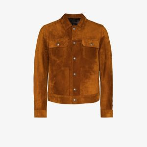 Tom Ford Mens Orange Suede Trucker Jacket