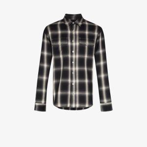 Purple Brand Mens Grey Checked Shirt
