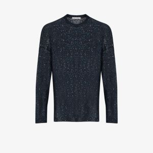 Our Legacy Mens Blue Popover Shimmering Sweater