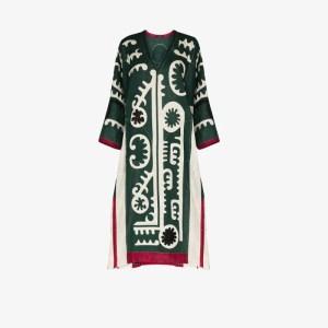 Vita Kin Womens Green Mombasa Appliqué Linen Kaftan