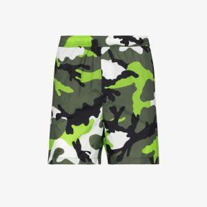 Valentino Mens Green Camouflage Print Swim Shorts