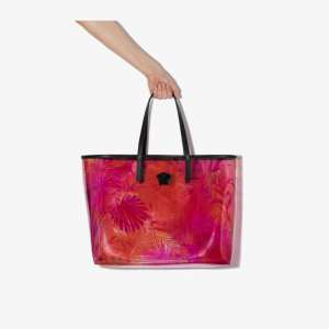 Versace Womens Pink Jungle Print Transparent Tote Bag