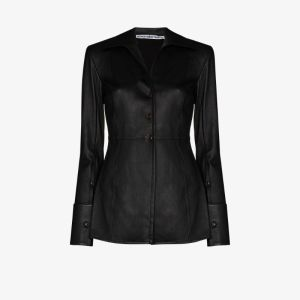 Alexander Wang Womens Black Fitted Leather Blazer