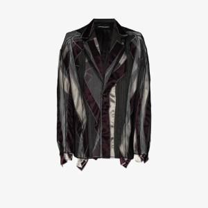 Y/project Mens Brown Tulle Pinstripe Blazer Jacket