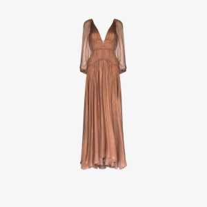 Maria Lucia Hohan Womens Neutrals Zeena Pleated Gown