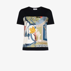 Salvatore Ferragamo Womens Blue Graphic-print T-shirt