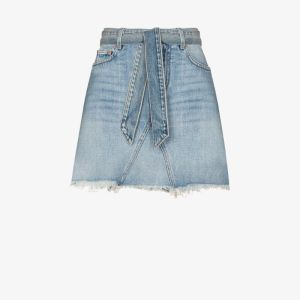 Givenchy Womens Blue Belted Denim Mini Skirt