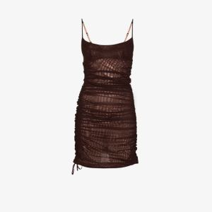 Mugler Womens Brown Ruched Mini Dress