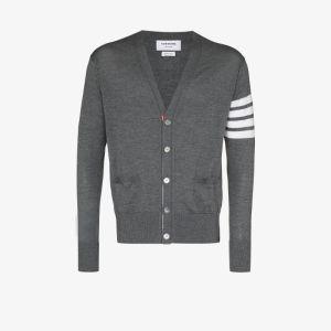 Thom Browne Mens Grey 4-bar Merino Wool Cardigan