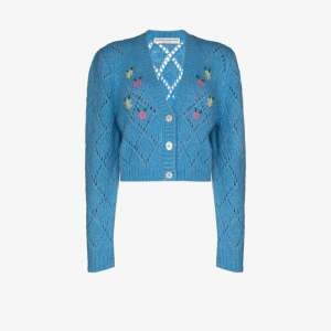 Alessandra Rich Womens Blue Cropped Floral Detail Cardigan