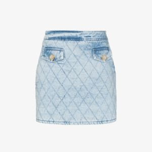 Alessandra Rich Womens Blue Quilted Denim Mini Skirt