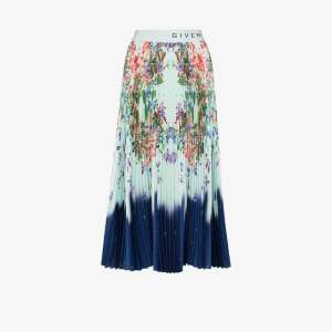Givenchy Womens Blue High-waisted Pleated Floral Midi Skirt