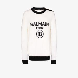 Balmain Mens White Button Detail Logo Intarsia Wool Sweater