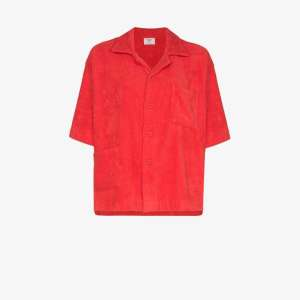 All Things Mochi Womens Red Terry Cotton Boxy Shirt