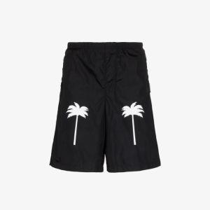 Palm Angels Mens Black Palm Print Swim Shorts