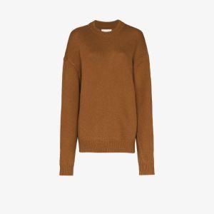 Jil Sander Womens Brown Crochet Knit Wool Sweater