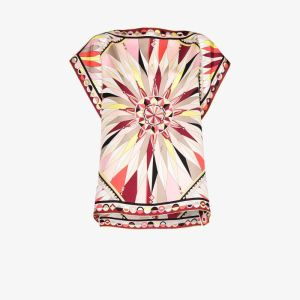 Emilio Pucci Womens Multicolour Bes Print Silk Top