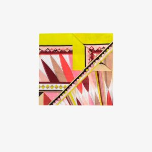 Emilio Pucci Womens Yellow Multicoloured Kaleidoscope Print Cotton Scarf