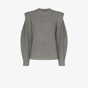 Isabel Marant Womens Grey Cap Sleeve Knitted Jumper